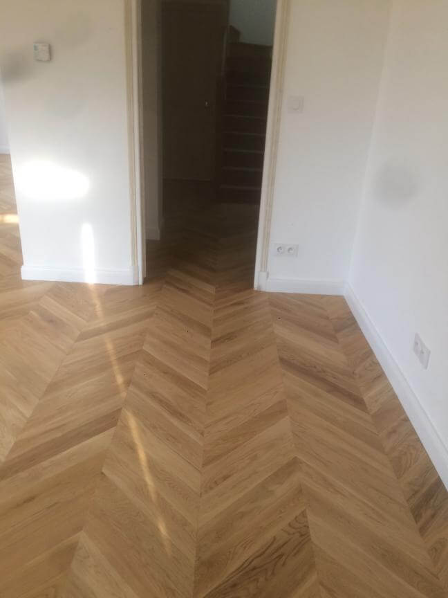 Chantier d'un parquet en point de hongrie